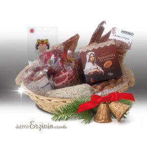 Cesto regalo natalizio, jolly rosso